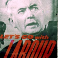 Portrait of Harold Wilson elected prime ministert in 1964, here seen in a alectoral poster