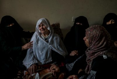 Women supporting the mother  of Jaber Abu Mustafa, killed by IDF forces on the border with Israel during the protests of The Great March of Return at his family house while they are waiting for the body.